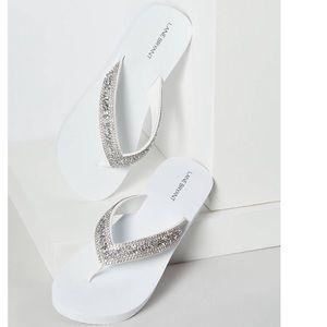NWT Embellished Wedge Flip Flops